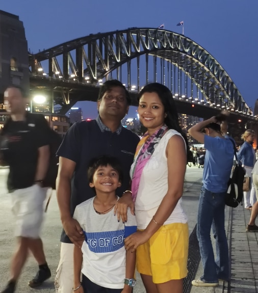 Abhijeet Sen with his wife and child.