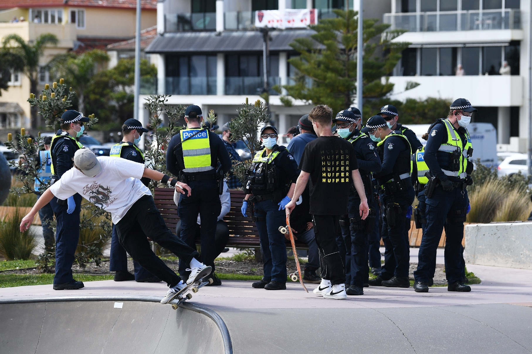 Multiple arrests were made at an anti-lockdown rally in St Kilda, Melbourne.