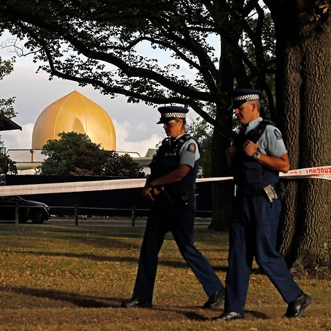 Police officers patrol at a park outside the Al Noor mosque in Christchurch, New Zealand in March last year.