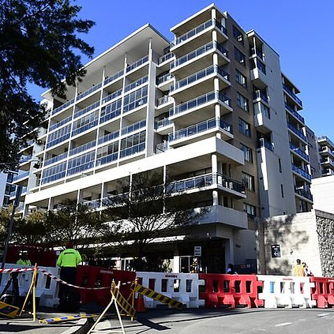 Cracks appear to be metres long in the Clemton Park Village apartment block
