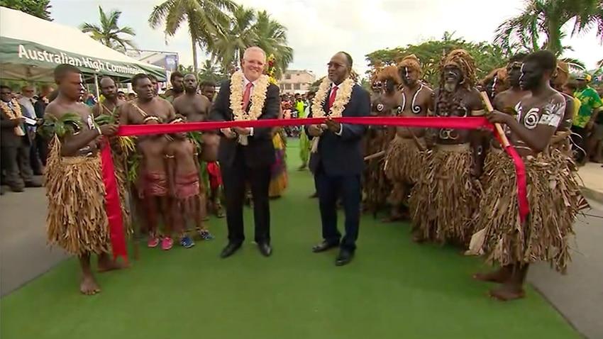 Prime minister Scott Morrison and Vanuatu counterpart Charlot Salwai cut the ribbon for the Port Vila Urban Development Project (PVUDP) in January.