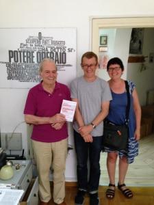 Nanni Balestrini, translator Matt Holden and Sonia Jeffrey in Rome in 2015.