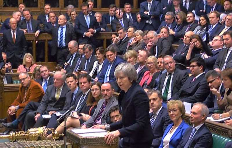 Prime Minister Theresa May speaks at the conclusion of the debate ahead of a vote on her Brexit deal in the House of Commons.