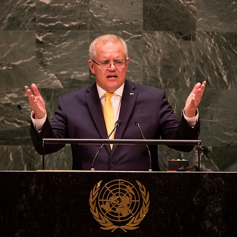 Prime Minister Scott Morrison addresses the United Nations at United Nations Headquarters in New York, New York.