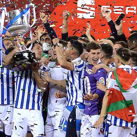 Real Sociedad celebrate their Copa del Rey triumph over Athletic Bilbao