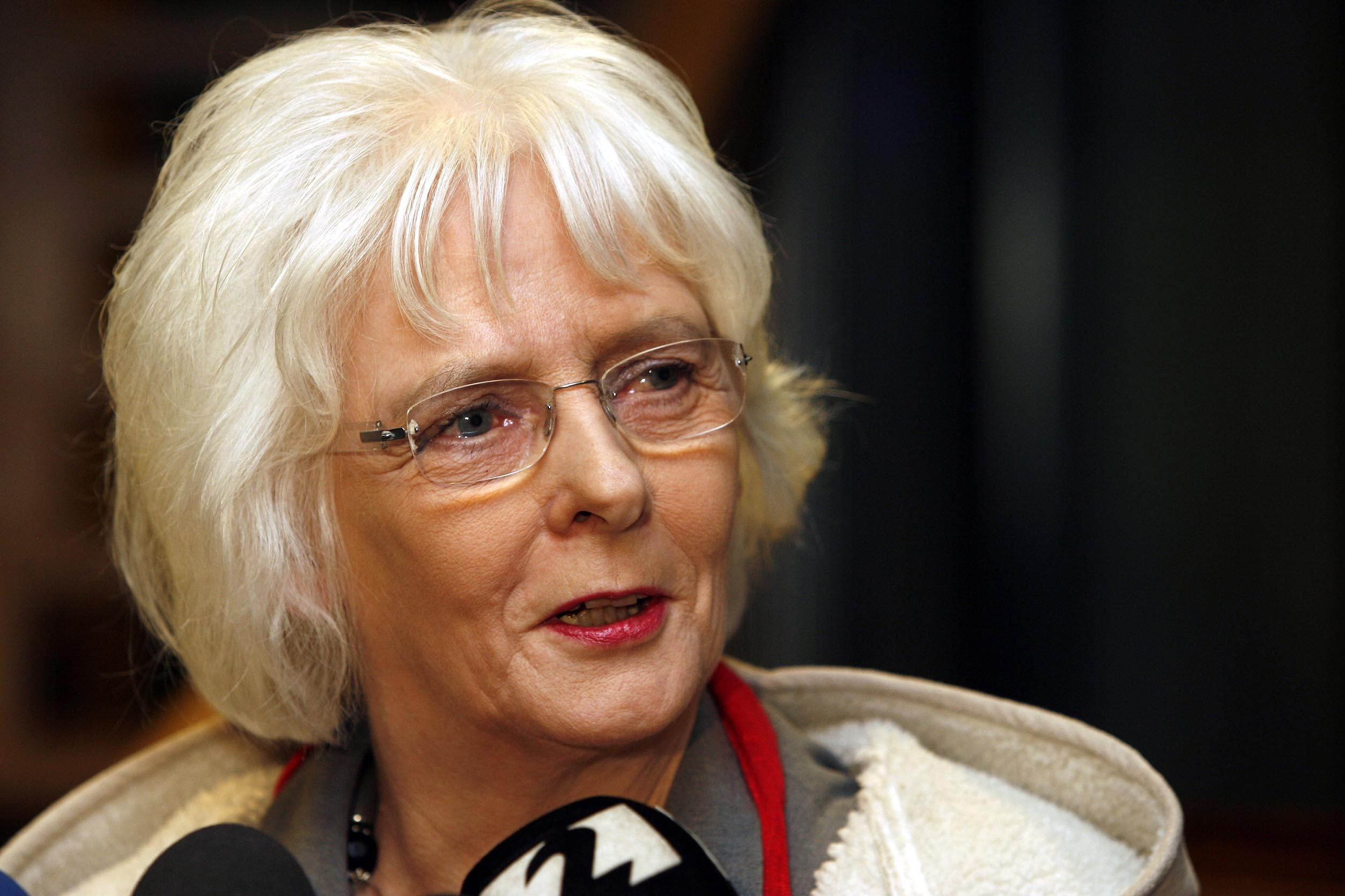 Iceland's Social Affairs Minister Johanna Sigurdardottir speaks to the media following party negotiations in Reykjavik, Iceland, Wednesday Jan. 28, 2009. Sigurdardottir, 66, an openly gay former flight attendant, is expected to become Iceland's interim pr
