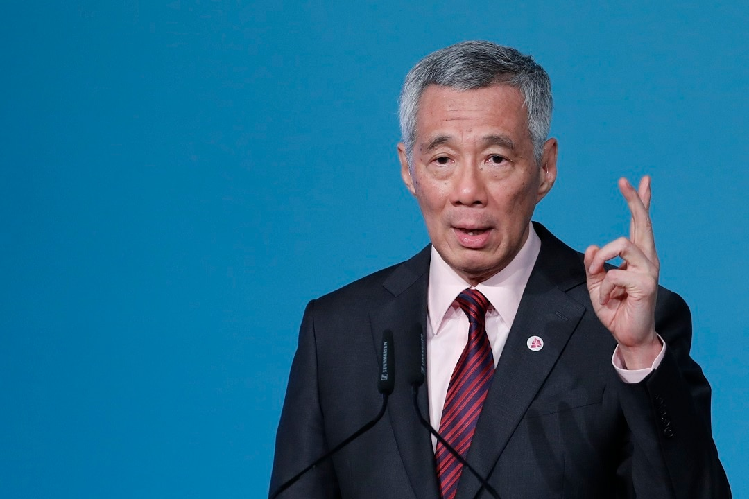 Singapore Prime Minister Lee Hsien Loong addresses the 32nd ASEAN Summit and Related Meetings in Singapore.