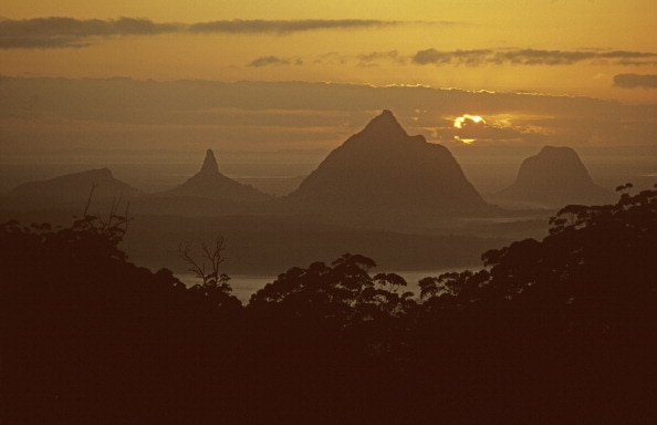 Mount Coonowrin and Mount Beerwah, Glass House Mountains National Park. Indigenous groups are hoping to have their sacred spot declared off limits from hikers.