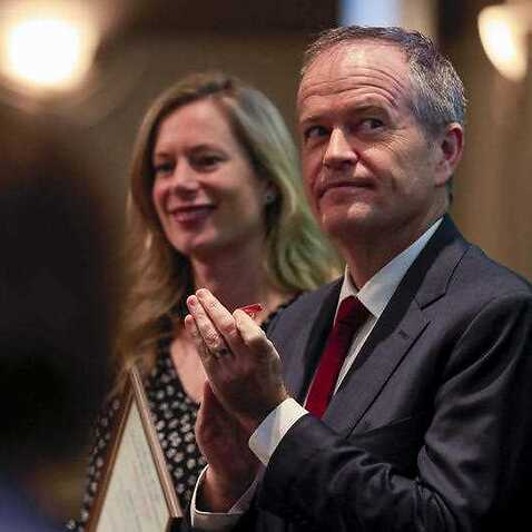 Tasmanian Opposition Leader Rebecca White (left) and Federal Opposition Leader Bill Shorten are seen during the Tasmanian Labor state conference in Hobart