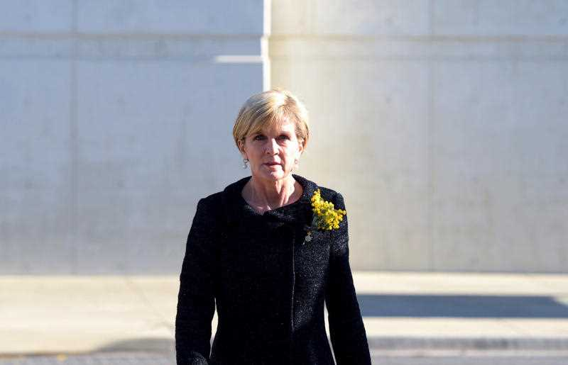Australian Federal Foreign Minister Julie Bishop arrives to attend a national memorial service to honour the people that died as a result of the downing of Malaysian Airlines Flight 17 at Parliament House in Canberra, Friday, July 17, 2015.