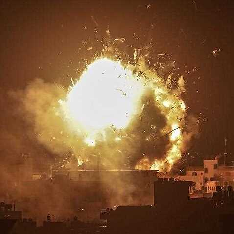 The Al-Aqsa channel, which belongs to Hamas, is struck by a direct hit from an Israel air strike.