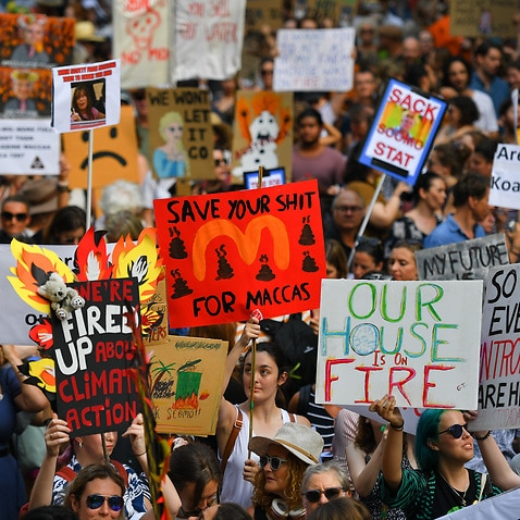 Protesters hold placards during a climate change rally in Sydney, 10 January, 2020.