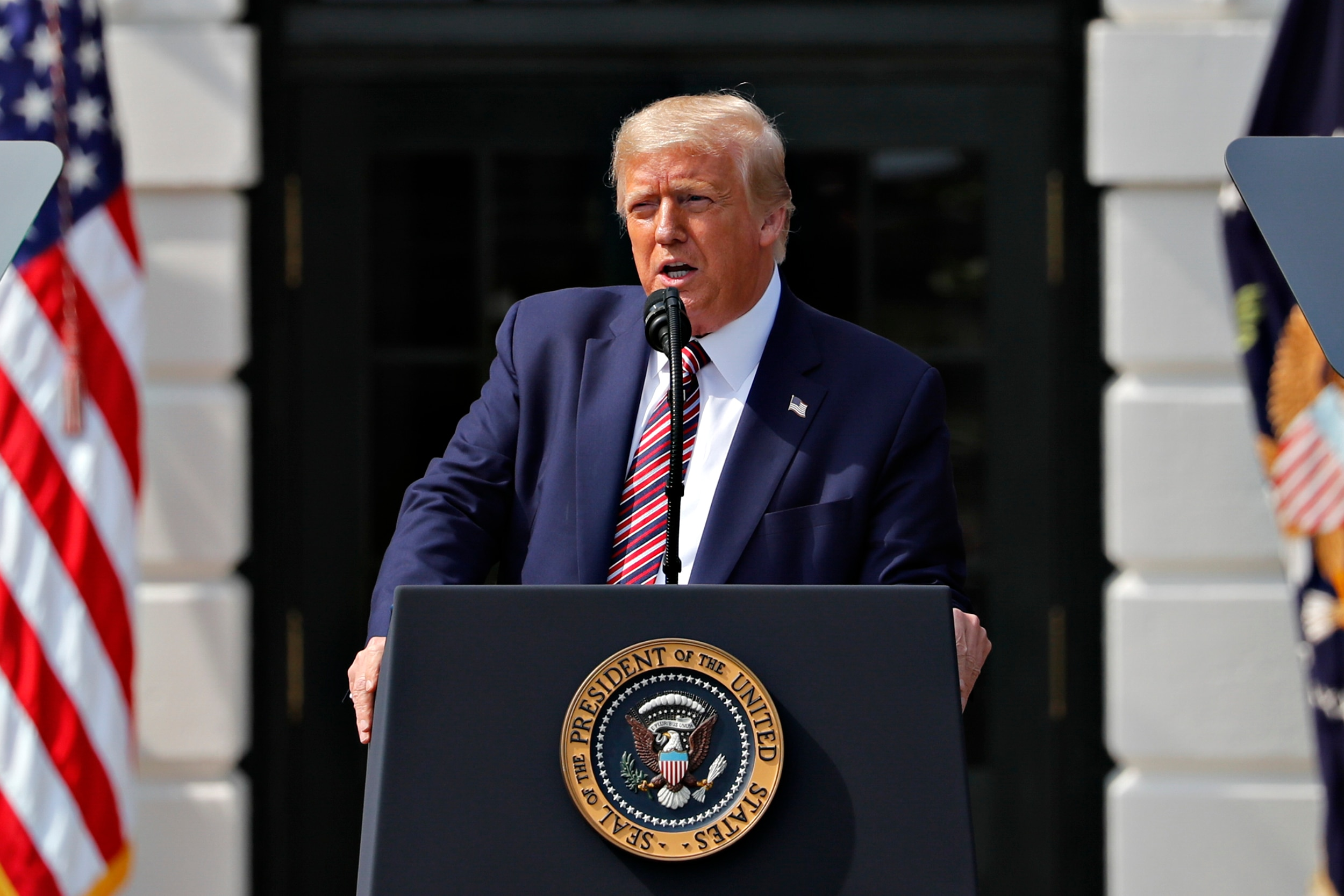 U.S. President Donald Trump speaks during an event on the South Lawn of the White House in Washington, D.C., U.S. on Thursday, July 16, 2020