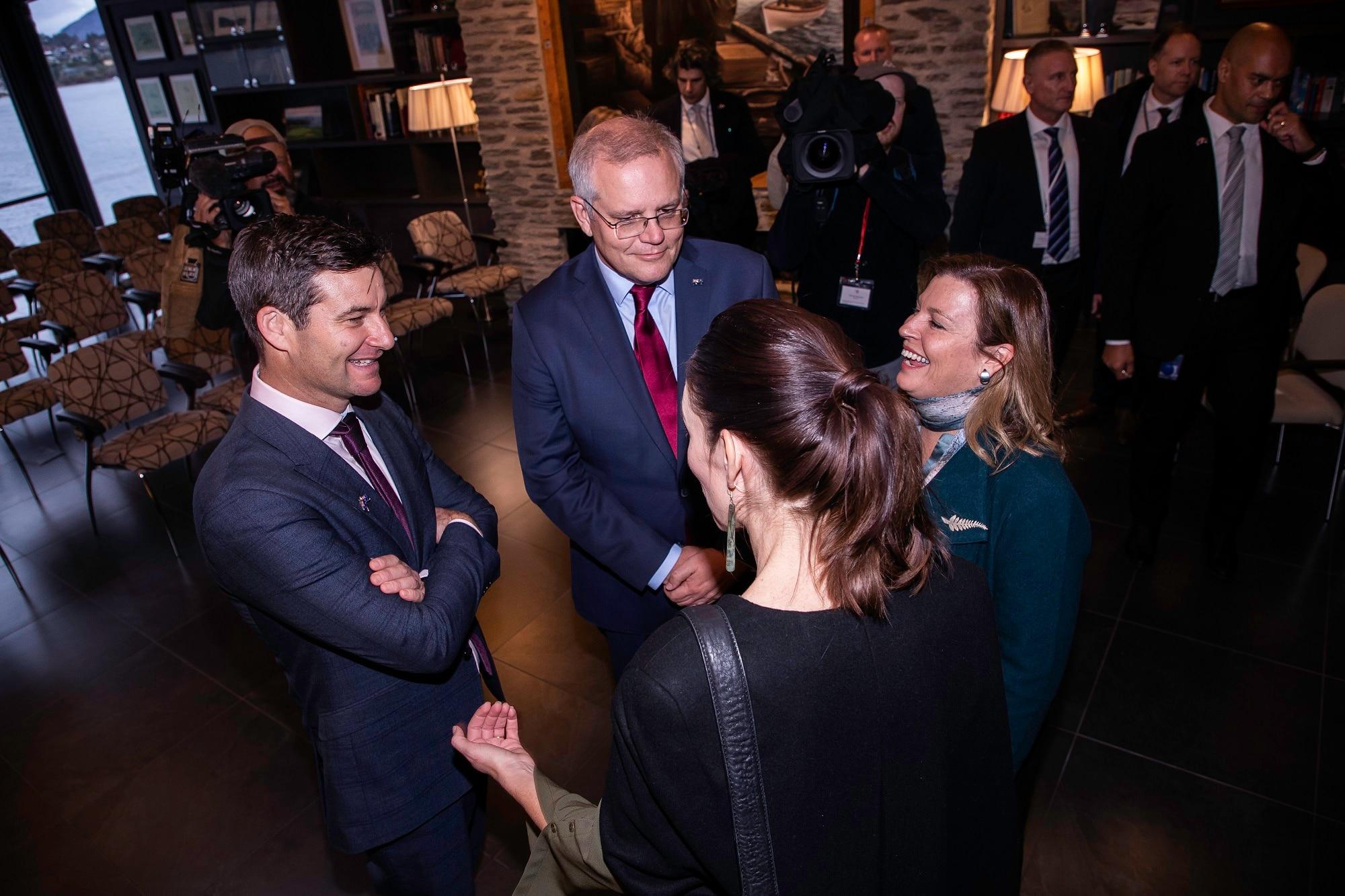 New Zealand Prime Minister Jacinda Ardern (third left), her partner Clark Gayford, Australian Prime Minister Scott Morrison (centre) and his wife Jenny.