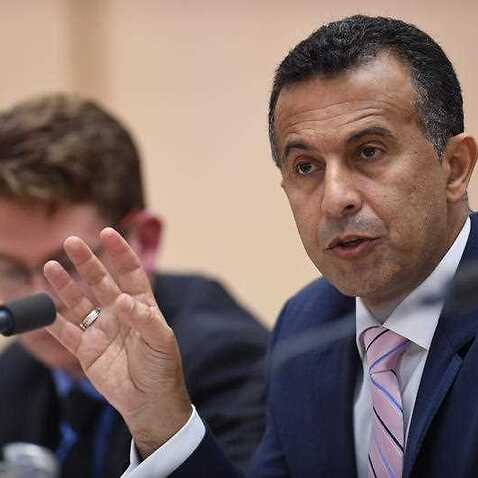 SBS managing director Michael Ebeid speaks during a Senate Estimates hearing at Parliament House in Canberra.