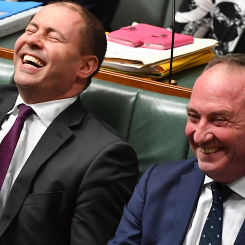 Josh Frydenberg, left, and Barnaby Joyce in happier times