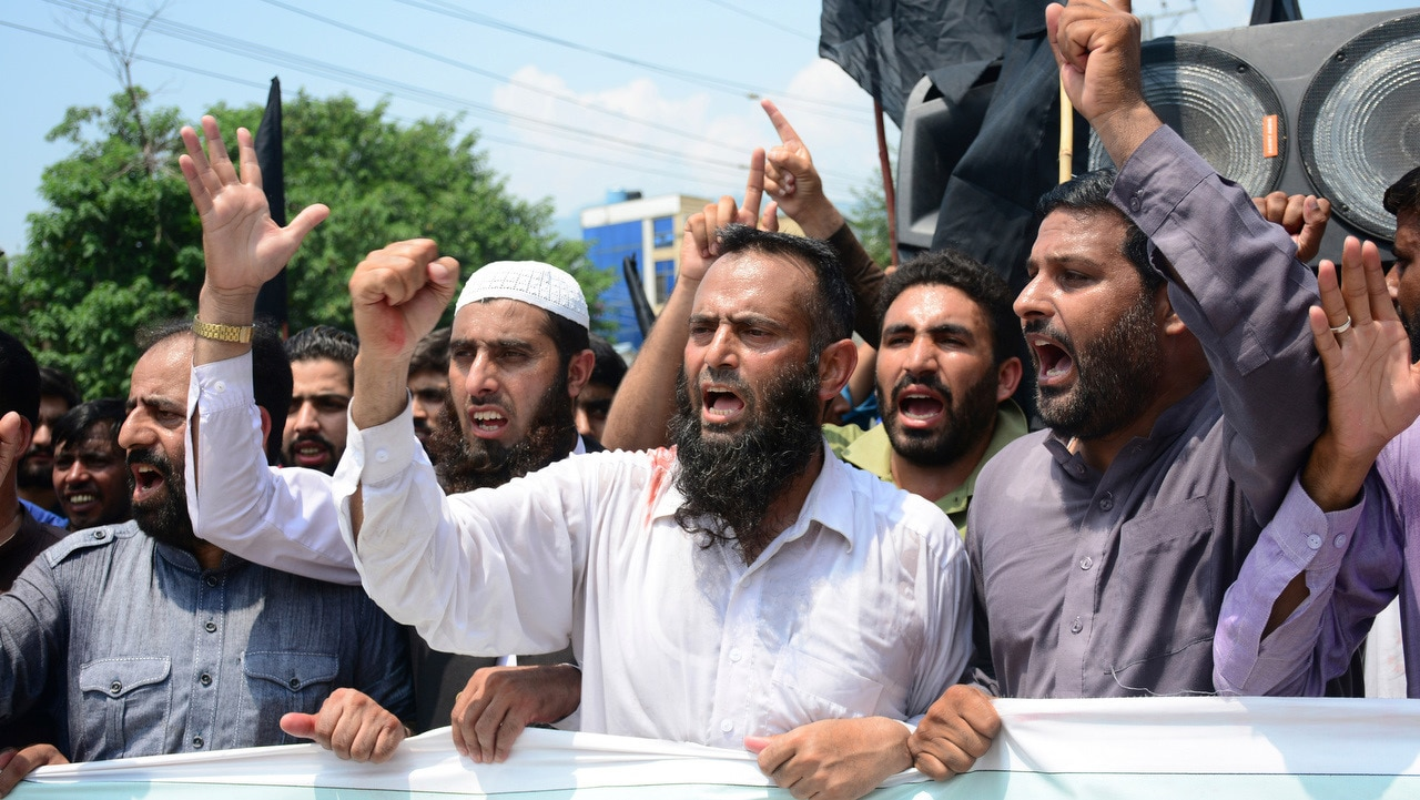 Pakistani Kashmiris protest against India and express support and solidarity with Indian Kashmiri people.