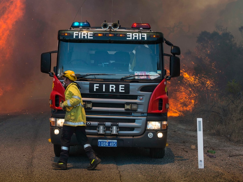 WA firefighters fight a blaze.