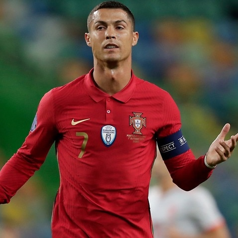 Cristiano Ronaldo reacts during a Portugal match