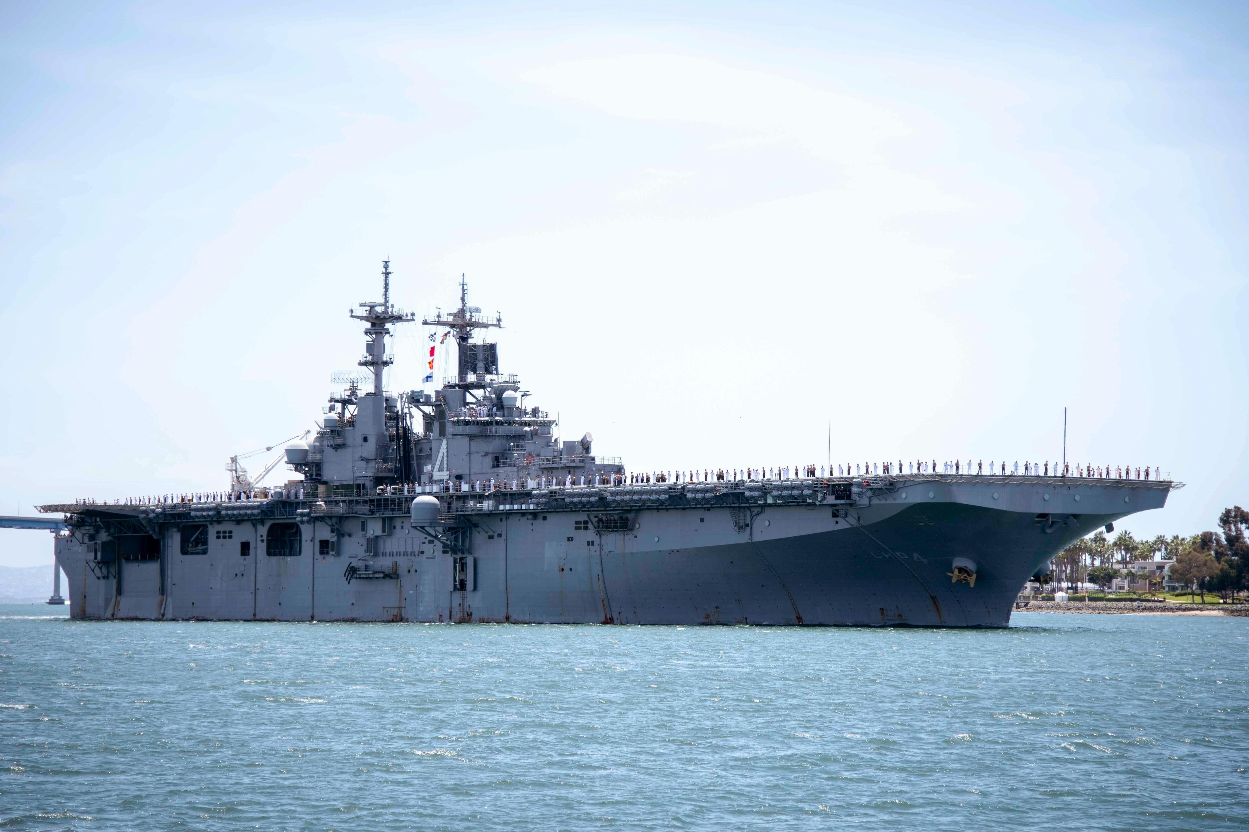 The amphibious assault ship USS Boxer. President Donald Trump says the USS Boxer destroyed an Iranian drone in the Strait of Hormuz.