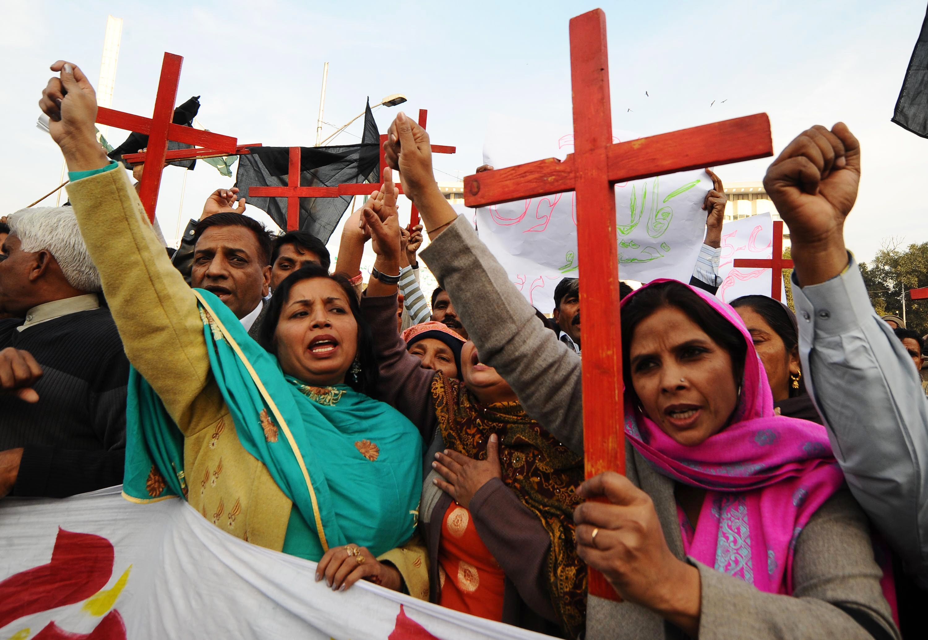 Members of the Pakistan Christian Democratic alliance protest in support of Asia Bibi in 2010.