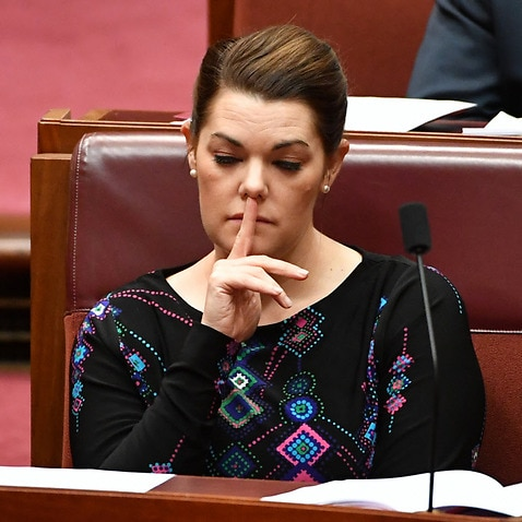 Greens Senator Sarah Hanson-Young during formal business in the Senate Chamber at Parliament House in Canberra, Thursday, September 7, 2017.