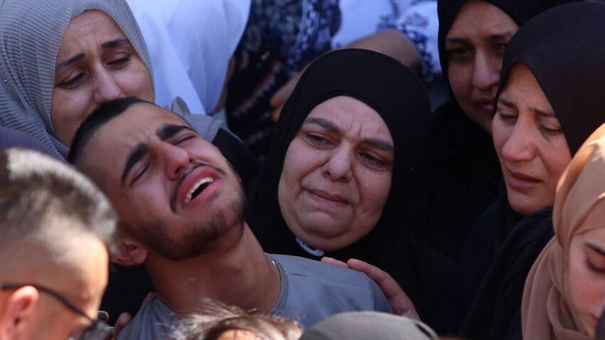 Relatives mourn during a funeral ceremony held for 22-year-old Palestinian Osama Soboh, who was killed by Israeli forces, in the village of Burqin, in southwestern Jenin city of West Bank on 26 September 2021.