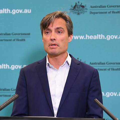 Deputy Chief Medical Officer Dr Nick Coatsworth speaks to the media during a press conference at the Australian Department of Health in Canberra, Monday, April 20, 2020. (AAP Image/Lukas Coch) NO ARCHIVING