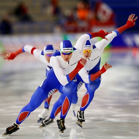 Team Russia races in the men's team sprint race during the ISU World Cup Speed Skating Championships December 1, 2017 in Calgary, Alberta, Canada.
