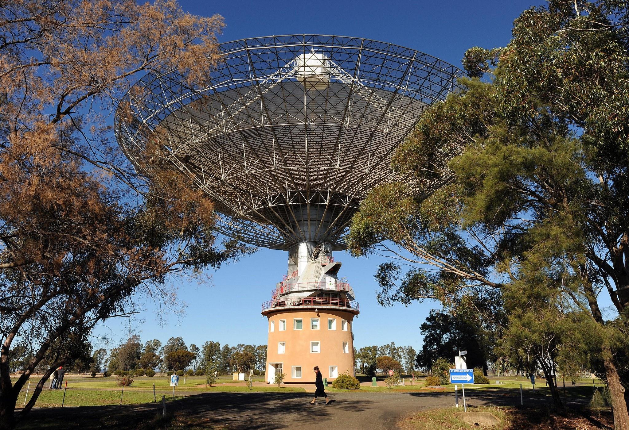 A radio telescope in Parkes, Australia, that was involved in the Apollo 11 mission.