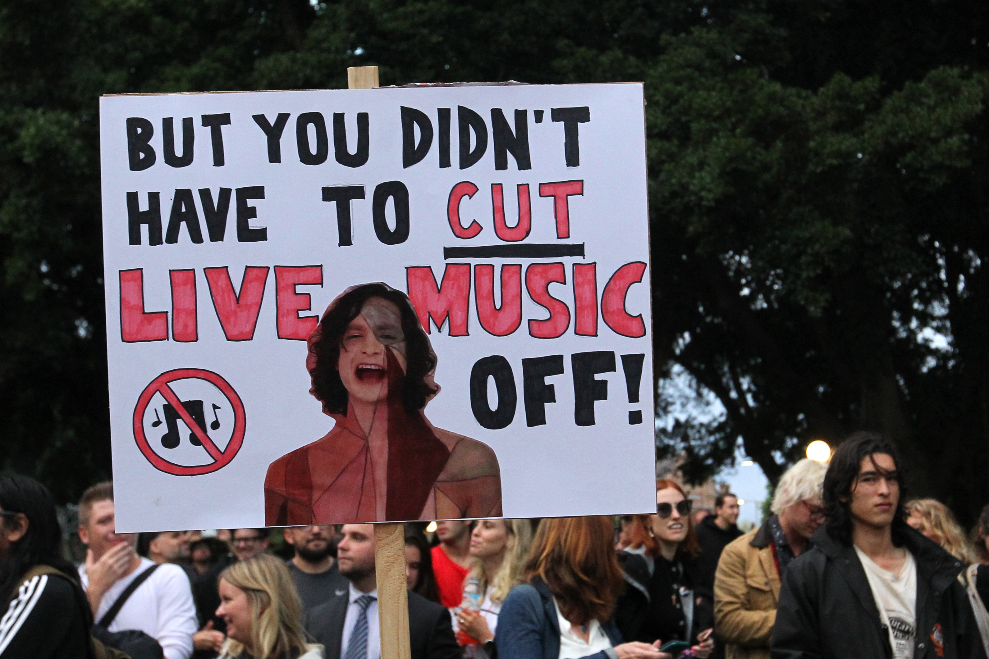 The Don't Kill Live Music Rally in February. Some music festival organisers believe they are being unfairly targeted by the gove