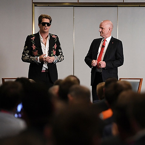 Liberal Democrat Senator David Leyonhjelm (right) speaks with British alt-right commentator Milo Yiannopoulos during an event at Parliament House in Canberra