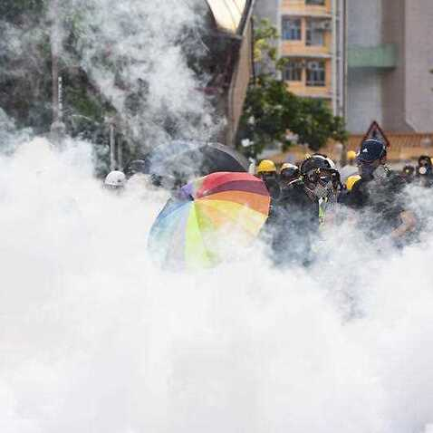 The protests in Hong Kong continue as protesters moved to shut down the Asian financial hub with a general strike on Monday.