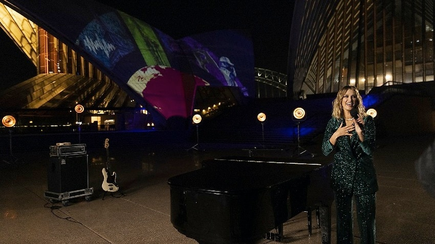 Delta Goodrem performed at the Sydney Opera House as part of the Global Citizen Live concert.