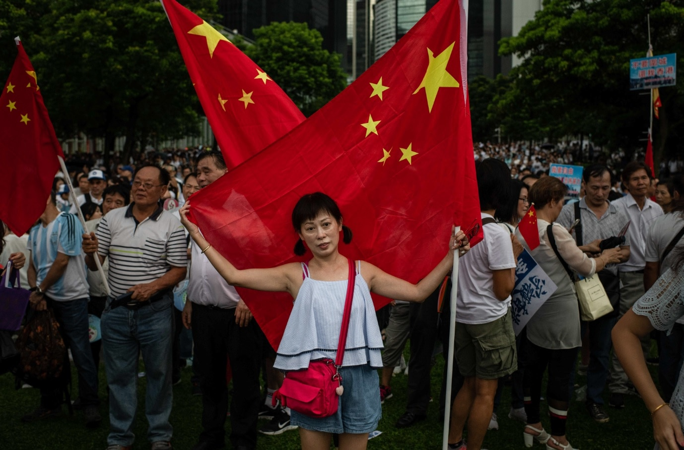 A woman embraces a Chinese flag during pro-government Safeguard Hong Kong rally at Tamar Park