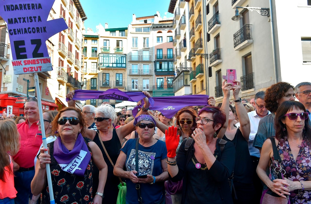 Demonstrators hit the streets of Pamplona, Spain.
