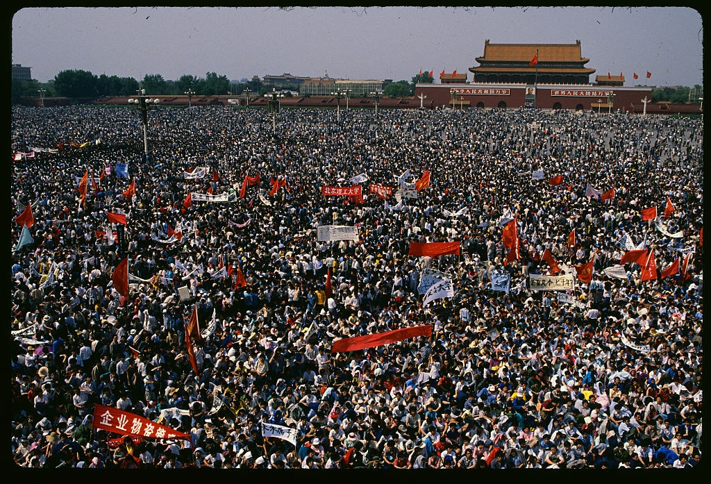 A sea of student protesters gathers in Tiananmen Square on 4 May 1989.
