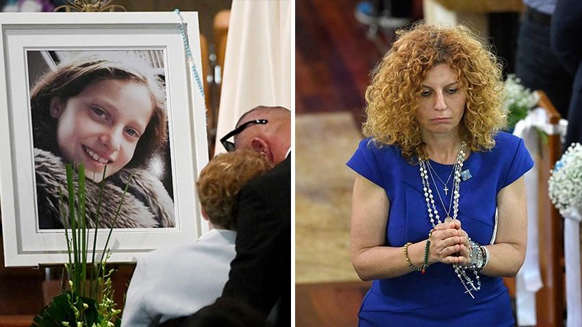 Victim Veronique Sakr picture left and her mother Bridget Sakr praying in church.