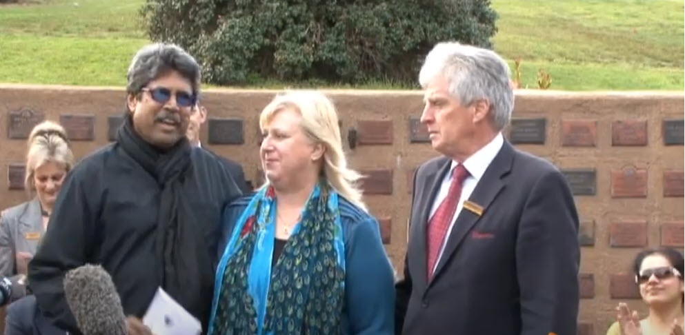Kapil Dev with the Guyetts (Alice and Bryan) at the ashes handover ceremony in Warrnambool