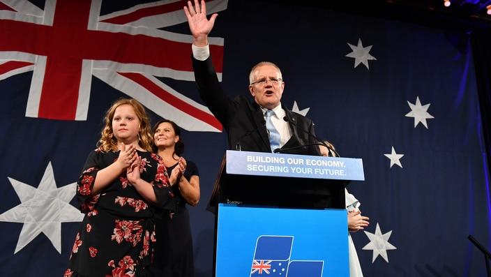 Prime Minister Scott Morrison on election night.