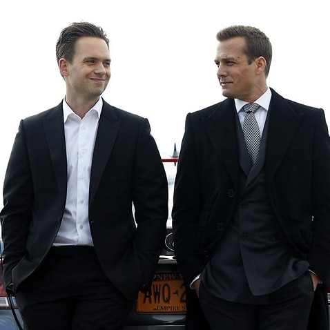 Patrick J. Adams (L) and Gabriel Macht in a scene from Suits