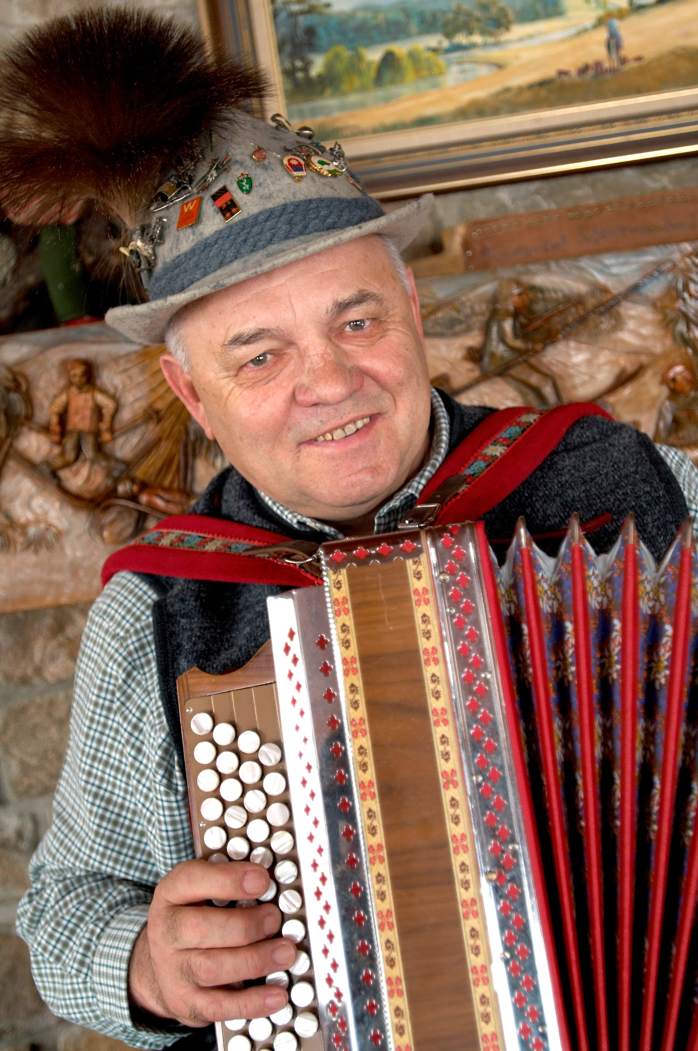 Hans Grimus still plays the accordion for his guests