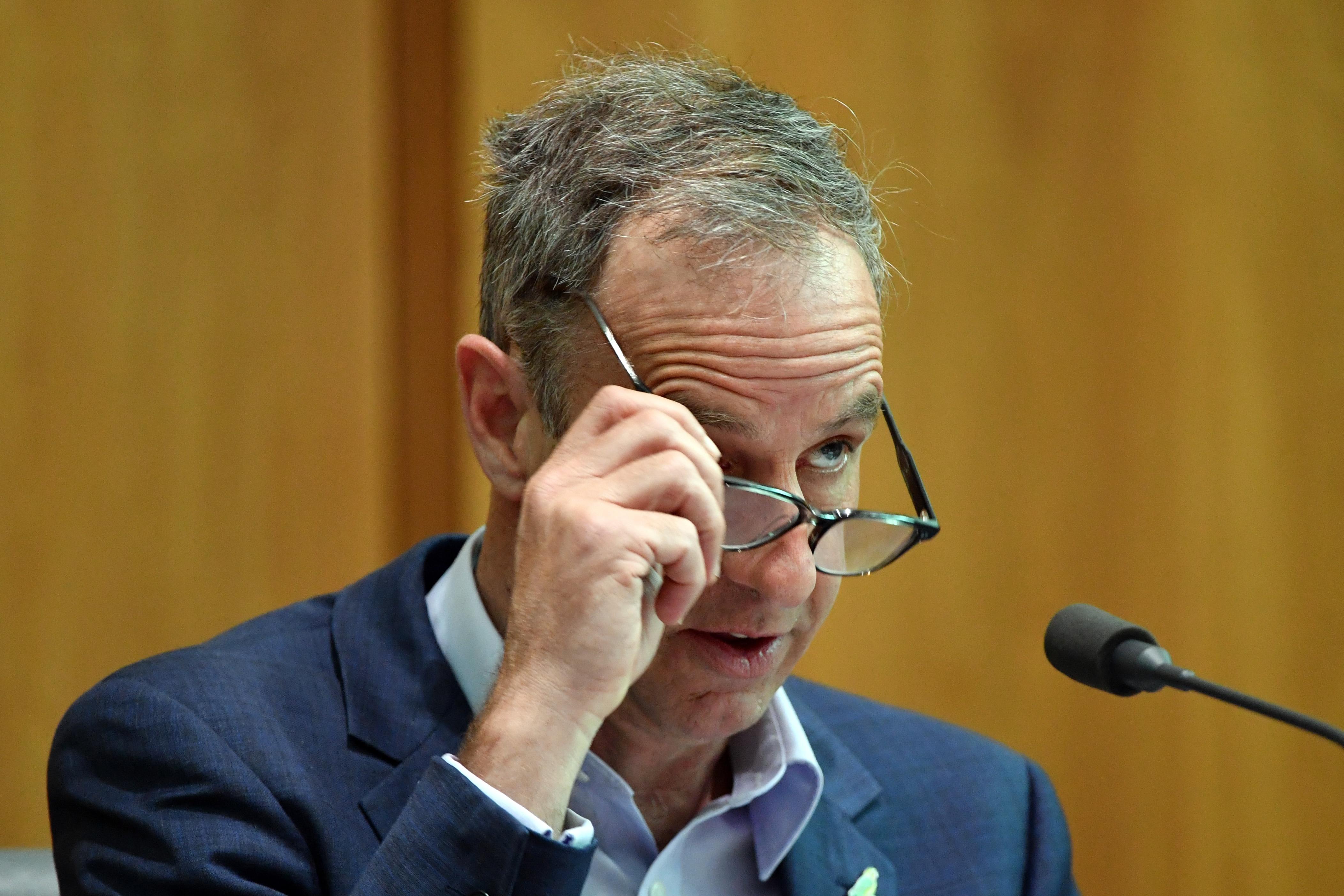 Greens Senator Nick McKim at a Senate Estimates hearing at Parliament House in Canberra.