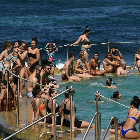 People cool off in the pool during heatwave conditions at Bronte Beach in Sydney.