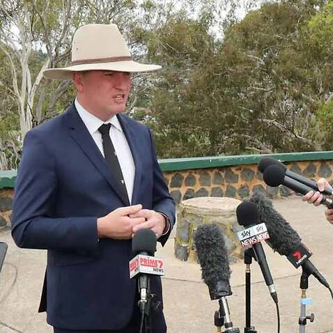 Barnaby Joyce during a press conference in Armidale, New South Wales where he resigned as Nationals leader.