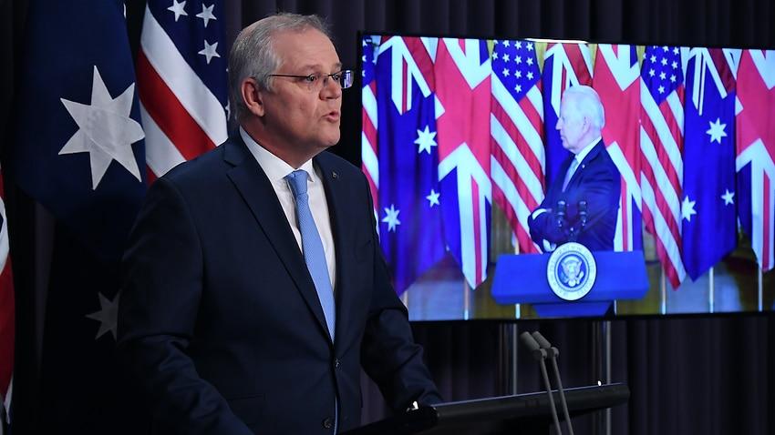 Prime Minister Scott Morrison during the AUKUS joint press conference with Britain's Prime Minister Boris Johnson and US President Joe Biden