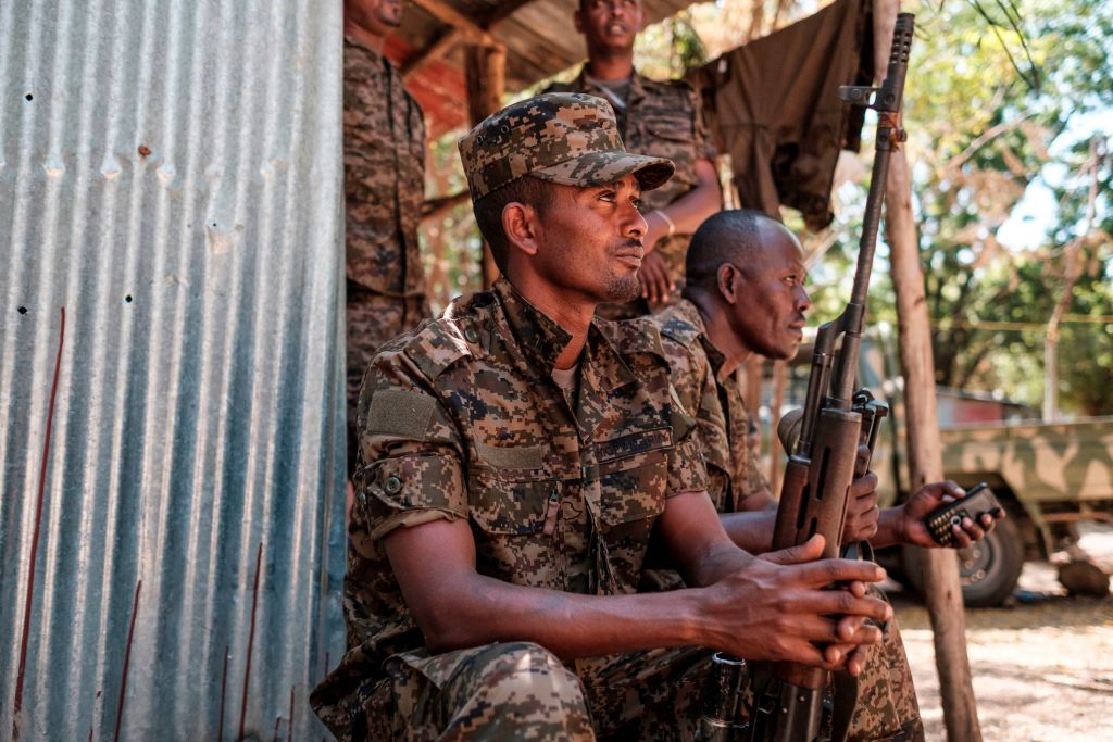 Ethiopian soldiers rest at the 5th Battalion  of the Northern Command of the Ethiopian Army in Dansha, Ethiopia, on 25, November, 2020.