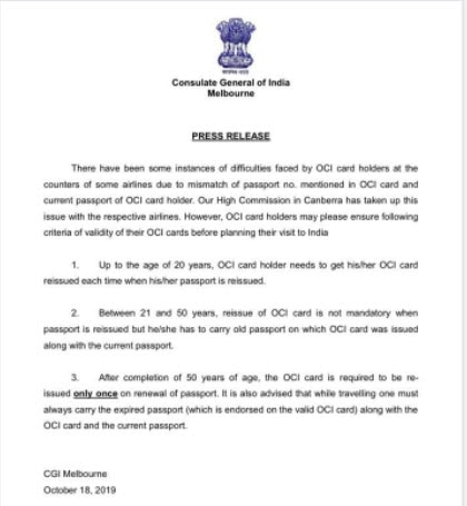 Press release issued by Consulate General of India, Melbourne