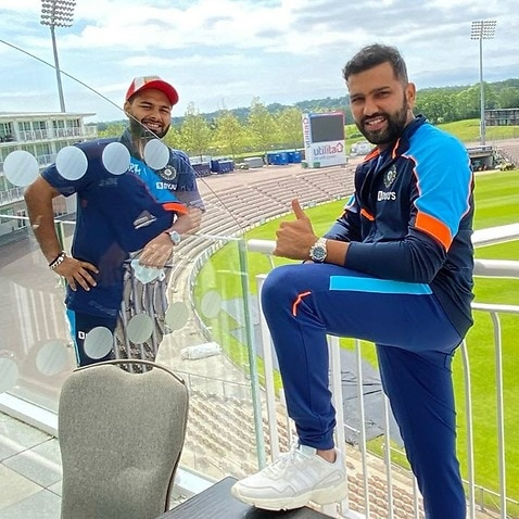 Indian cricketers Rishabh Pant (L) and Rohit Sharma during a bio - bubble ahead of World Test Championship final in England.
