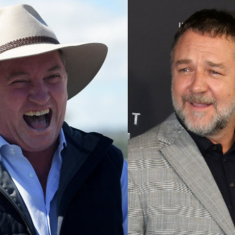Barnaby Joyce and Russell Crowe